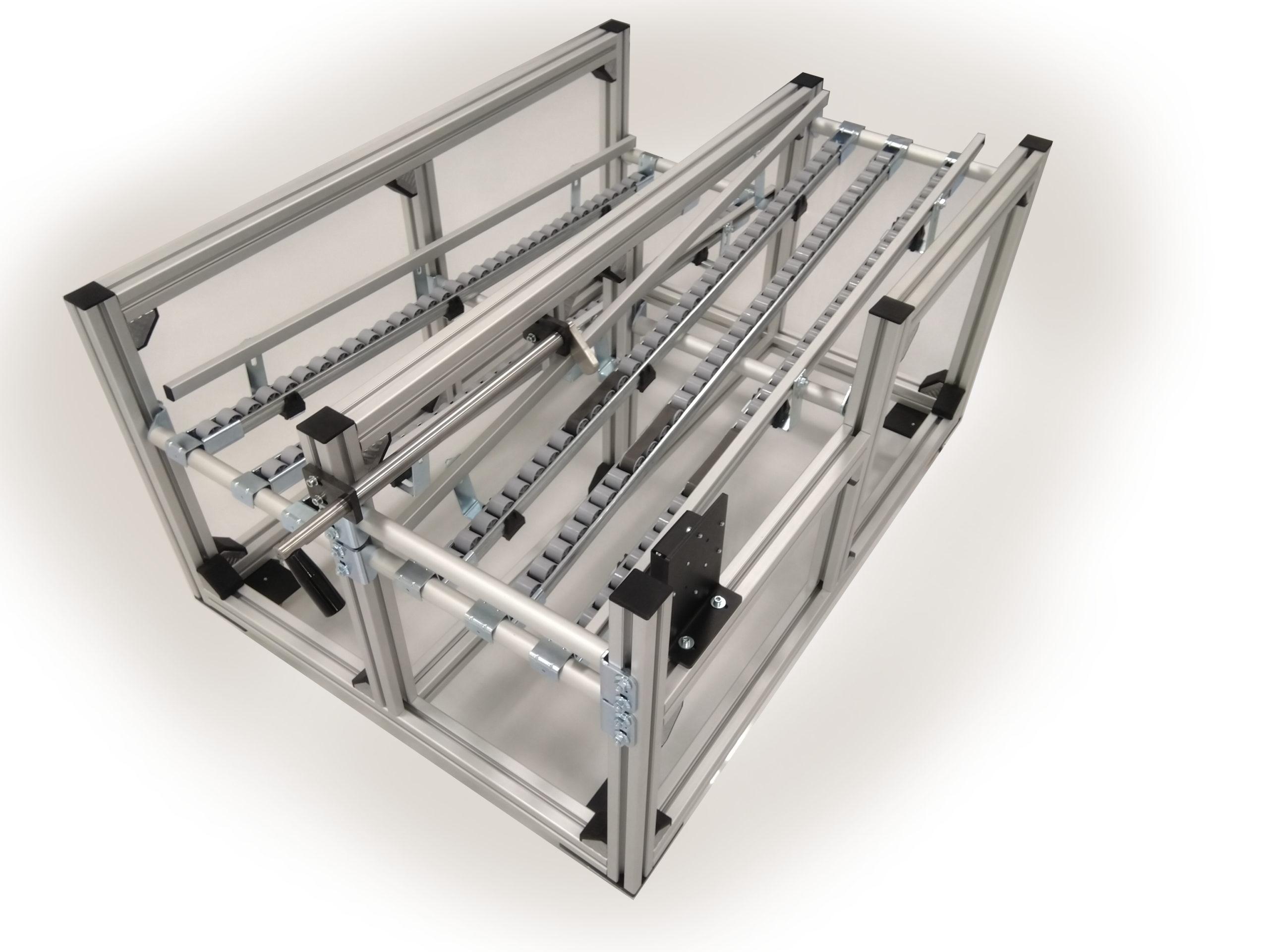 Regał podajnik rolkowy do komponentów pudeł box production trays trailers